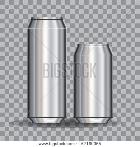 Aluminum Cans Empty 500 and 330 ml. on transparency grid. Stock vector illustration