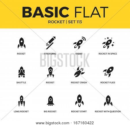 Basic set of fireworks, rocket in space and rocket start icons. Modern flat pictogram collection. Vector material design concept, web symbols and logo concept.