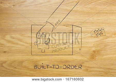 Product Customization Concept: Hand Holding Piece Of Puzzle Over Item Box