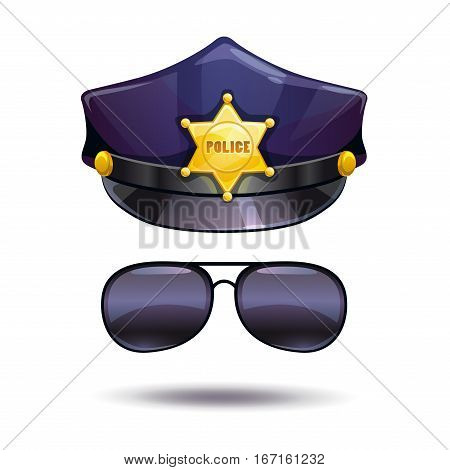 Cartoon police cap with golden badge and cops sunglasses. Vector illustration. Isolated on white.