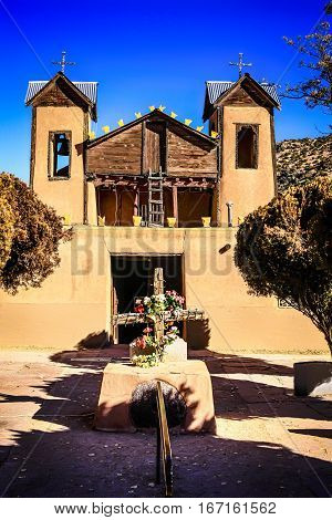 Chimayo, New Mexico, USA - December 7: El Santurio de Chimayo. A Roman Catholic mission church first built in 1816 and now a comtemporary Catholic pilgramage site in the USA