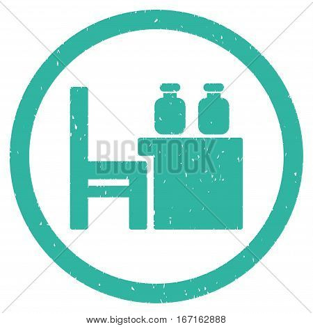 Apothecary Table grainy textured icon inside circle for overlay watermark stamps. Flat symbol with unclean texture.