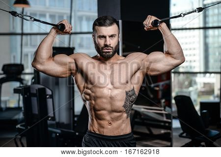 Fitness Instructor Handsome Man In The Gym Gain Muscle