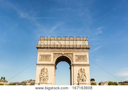 Arc De Triomphe In Paris On A Sunny Day