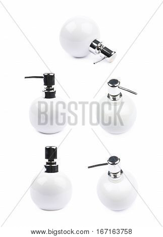 White ceramic liquid soap dispenser isolated over the white background, set of five different foreshortenings