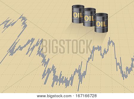A barrel of oil and the price graph.Vector illustration.