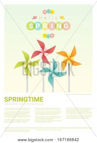 Hello spring background with colorful pinwheels , vector , illustration