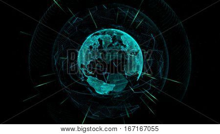 Glowing Earth globe depicted by thin lines and dots on a dark background. 3d rendering.