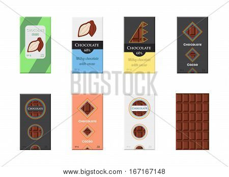 Chocolate bar set. Cacao label package. Sweet milky product. Flat vector style.