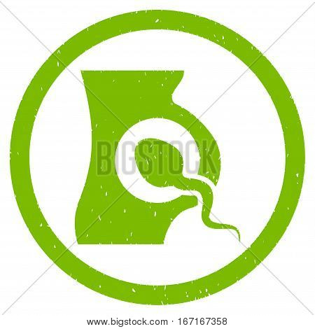 Artificial Insemination grainy textured icon inside circle for overlay watermark stamps. Flat symbol with scratched texture.