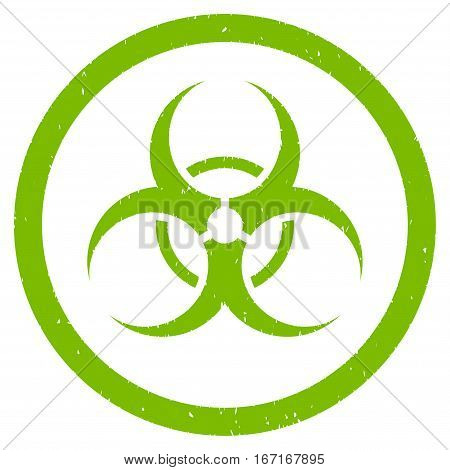 Bio Hazard grainy textured icon inside circle for overlay watermark stamps. Flat symbol with scratched texture.