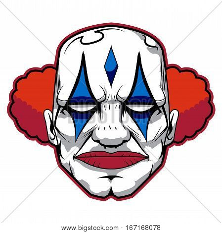 bad clown with red blue and white make up and orange hair