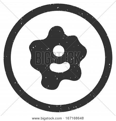 Ameba grainy textured icon inside circle for overlay watermark stamps. Flat symbol with unclean texture. Circled dotted vector gray ink rubber seal stamp with grunge design on a white background.