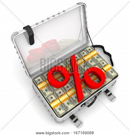 Beneficial interest. Business concept. Red percentage sign and a suitcase filled with packs of US dollars. Isolated. 3D Illustration