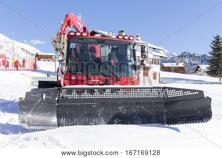 close up of snow groomer at a ski resort