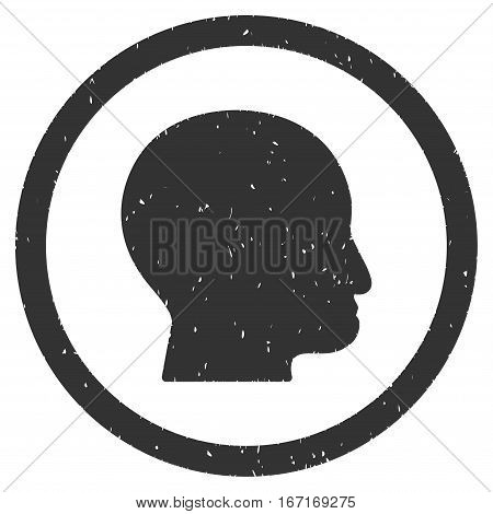Bald Head grainy textured icon inside circle for overlay watermark stamps. Flat symbol with dust texture. Circled dotted vector gray ink rubber seal stamp with grunge design on a white background.