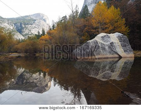 Half dome in Mirror Lake, Yosemite National Park.