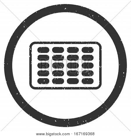 Blister grainy textured icon inside circle for overlay watermark stamps. Flat symbol with dust texture. Circled dotted vector gray ink rubber seal stamp with grunge design on a white background.