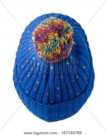 Knitted Hat Isolated On White Background .hat With Pompon .     Blue  Hat  .