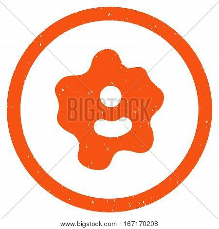 Ameba grainy textured icon inside circle for overlay watermark stamps. Flat symbol with dirty texture. Circled dotted vector orange ink rubber seal stamp with grunge design on a white background.