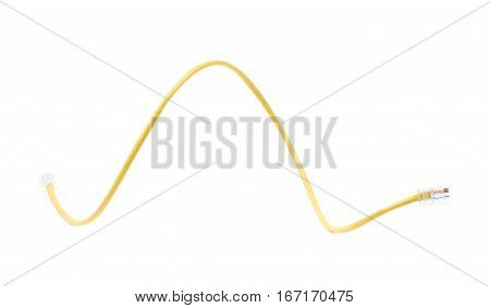 Yellow ethernet cable isolated over the white background