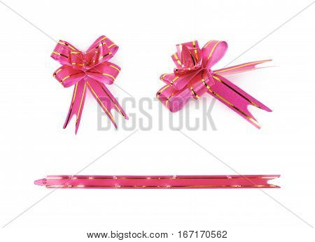 Single foldable tape bow isolated over the white background, set of three different versions