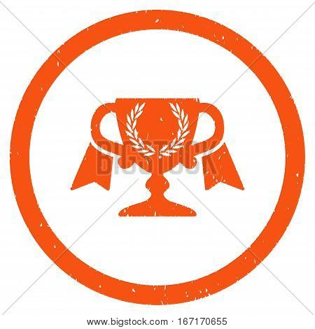 Award Cup grainy textured icon inside circle for overlay watermark stamps. Flat symbol with dirty texture. Circled dotted vector orange ink rubber seal stamp with grunge design on a white background.
