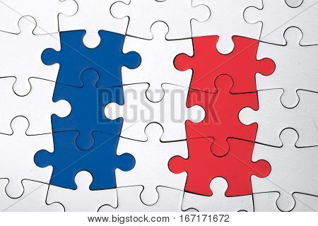 view of the french flag puzzle. politic. France