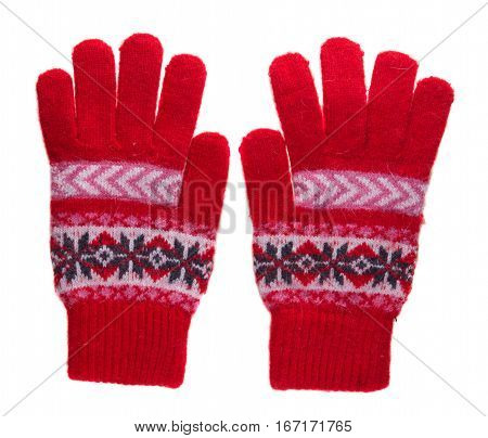 Knitted Gloves. Gloves Isolated On White Background. Gloves A Top View . Red Gloves With A Pattern