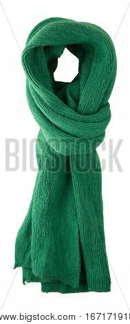 Scarf Isolated On White Background.scarf  Top View .green Scarf .