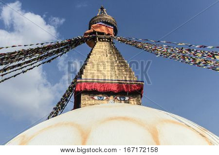 Tibetan flags in Boudhanath Stupa in Nepal Kathmandu