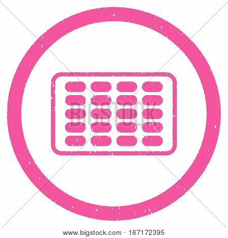 Blister grainy textured icon inside circle for overlay watermark stamps. Flat symbol with dust texture. Circled dotted vector pink ink rubber seal stamp with grunge design on a white background.