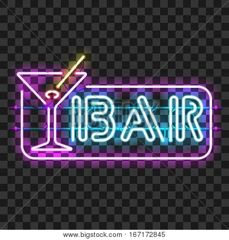 Glowing neon bar sign with martini glass isolated on transparent background. Shining and glowing neon effect. All elements are separate units with wires, tubes, brackets and holders.