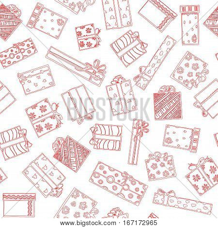 Seamless pattern with gift boxes. Hand drawing vector set with gifts. Gifts for different holidays. On New Year's Eve Christmas birthday Valentine's Day and others
