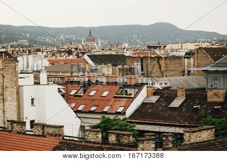 beautiful roofs of old building in Budapest city travel concept old european town