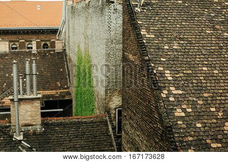 Beautiful View Old Roof And Chimney Pipes In Budapest City, Travel Concept, Old European Town