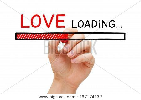 Hand drawing Love loading bar concept with marker on transparent wipe board.