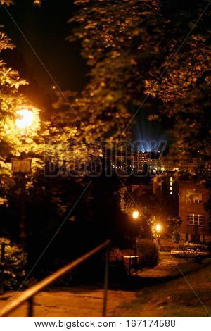 Beautiful Evening Street And Light Show In A City Center And Park Lanterns In Budapest