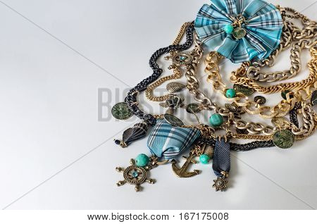 Beautiful jewelry (bijouterie) necklace in a marine style.