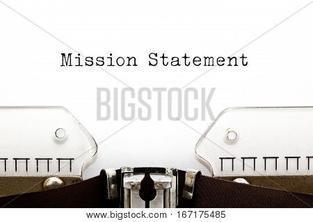 The phrase Mission Statement typed on retro typewriter.