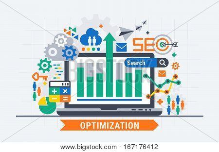 SEO optimization. Vector flat illustration analytics design.