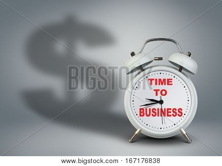 Alarm clock with dollar shadow time to business startup concept