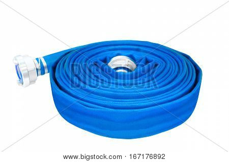 rolled up hose fire hose on white background
