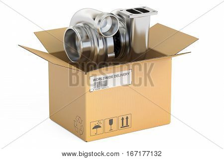 Cardboard Box with Car Turbocharger 3D rendering