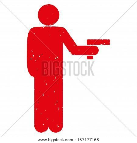 Robber With Gun grainy textured red icon for overlay watermark stamps. Flat symbol with scratched texture. Dotted vector ink rubber seal stamp with grunge design on a white background.