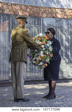 Pretoria, South Africa: minister of defence mapisa-nqakula at the sadf wall of remembrance 31 may 2015, annual commemoration service of the military veterans' organisations, laying wreath