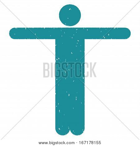Scarecrow Pose grainy textured soft blue icon for overlay watermark stamps. Flat symbol with dirty texture. Dotted vector ink rubber seal stamp with grunge design on a white background.