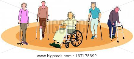 Group of people old men women with mobility aids wheelchair forearm crutches quad cane conceptual healthcare image together support elderly awareness concept