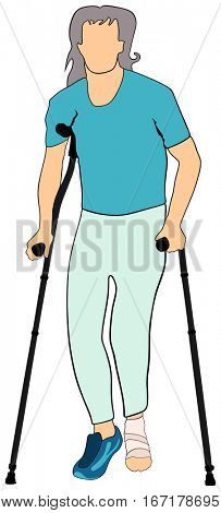 An Old man with injured foot using mobility aid standing walking basing on forearm crutches conceptual togetherness healthcare image support elderly people concept