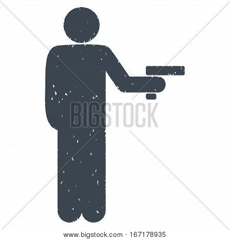 Robber With Gun grainy textured smooth blue icon for overlay watermark stamps. Flat symbol with dust texture. Dotted vector ink rubber seal stamp with grunge design on a white background.